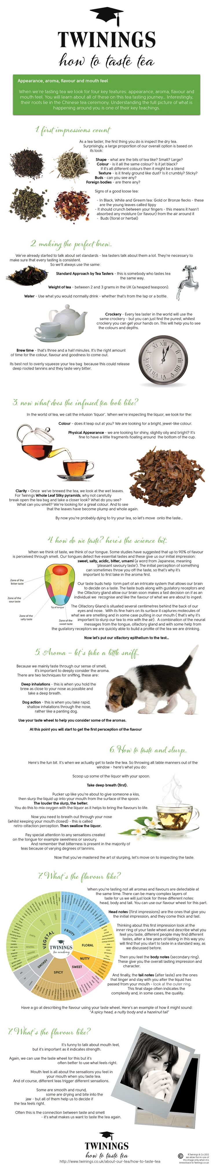 """""""How to taste tea"""" Infographic    Here is an HTML version: http://www.twinings.co.uk/about-our-tea/how-to-taste-tea"""