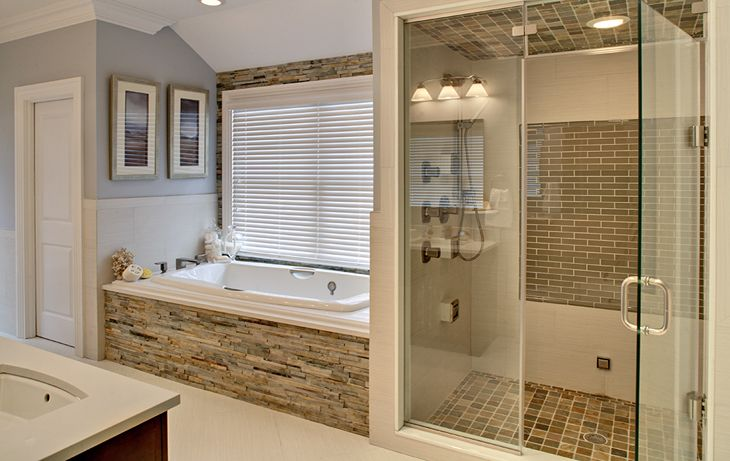 Remodeled tub and shower bhr bath remodel jetted tub spa and stand up for the for Standing shower bathroom ideas