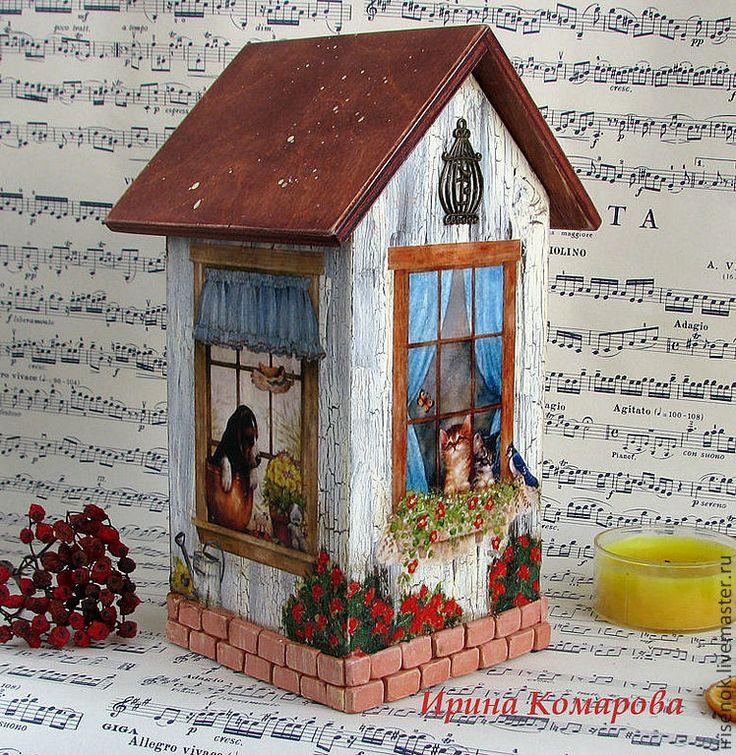 Купить Чайный домик с кирпичиками - чайный домик, подарок на новоселье, Декупаж, домик для чая, кухня