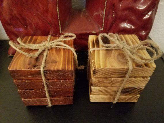 Reclaimed Wood Coasters. Rustic Coaster Set. Handmade Coasters by ErbRecycledDesigns #reclaimedwood #palletprojects