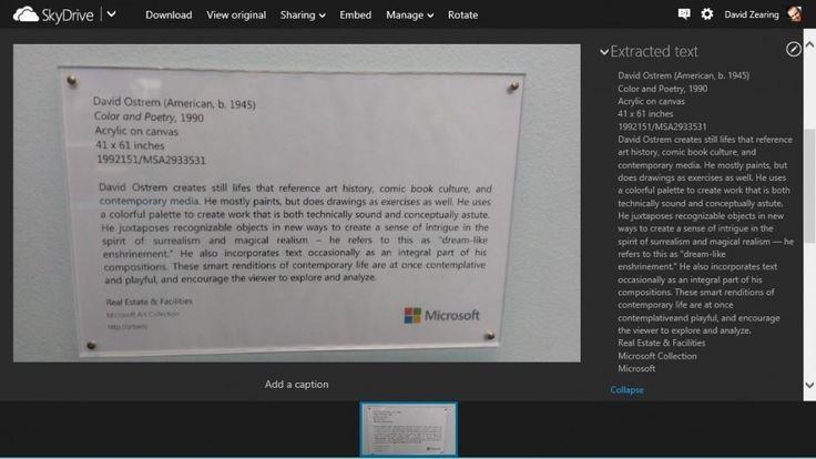 SkyDrive ofrece reconocimiento de texto enfotos