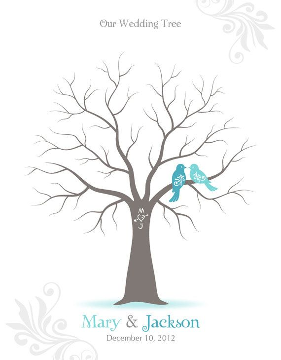 Fingerprint Wedding Tree Guest Book Poster with Ink Pad, Wall Art, Personalized Wedding Tree w/ Love Birds Print, 8x10. $26.00, via Etsy.