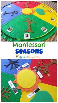 Enjoy 5 Montessori Seasonal Activities that include a beautiful year cycle mat and Montessori year chain. - http://www.mamashappyhive.com