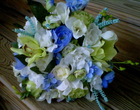 This would match my dresses perfectly!! Beach Bouquet silk Wedding Flowers Blue Carribean Bridal Bouquet Destination Wedding accessories aqua turquoise Green Orchids Gardenias