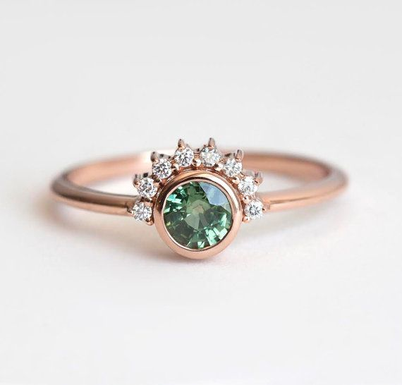 Green Sapphire Ring, Green Engagement Ring, Sapphire Diamond Ring, Diamond…