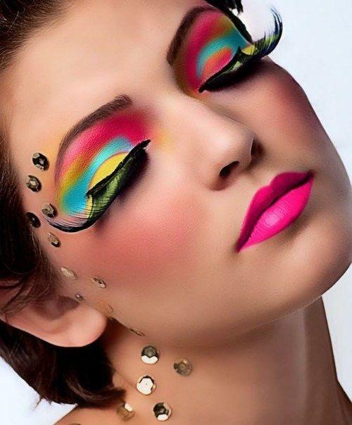 """All I can say is, """"WOW""""!Colors Makeup, Fantasy Makeup, Eye Makeup, Makeup Tips, Rainbows, Makeup Ideas, Makeup Eye, Eyemakeup, Bright Colors"""
