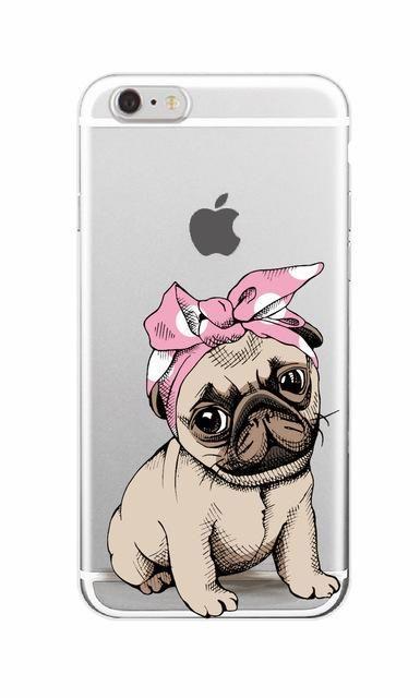 Cute Puppy Bunny Cat Princess Meow French Bulldog Soft Phone Case Coque Funda For iPhone 7 7Plus 6 6S 6Plus 8 8Plus X Samsung
