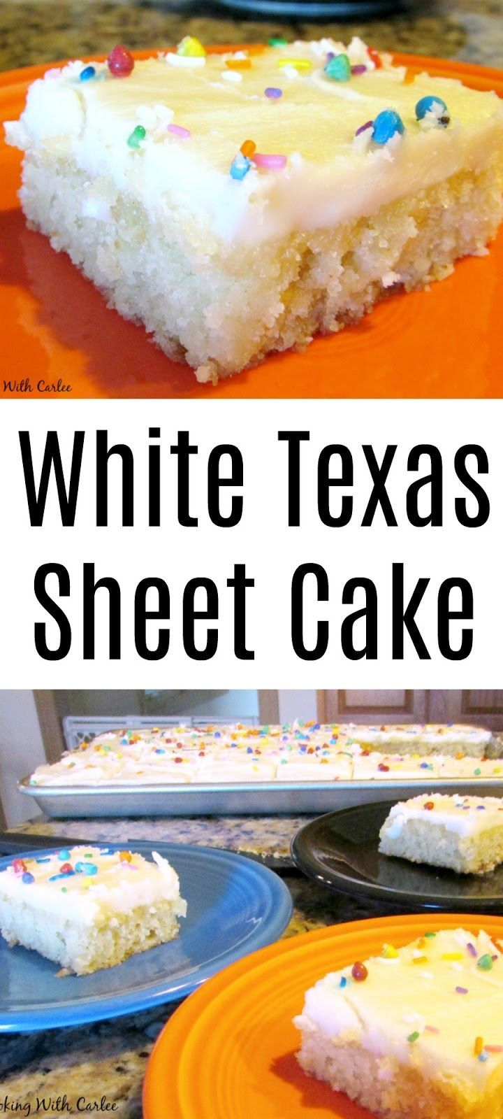 This sheet cake is perfect for feeding a crowd. White cake and white frosting is my dad's favorite combination. It is a quick and easy cake that will be popular at your next BBQ or potluck!