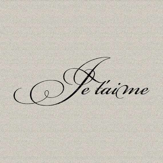 French Script Je Taime I Love You French Decor by DigitalThings, $1.00
