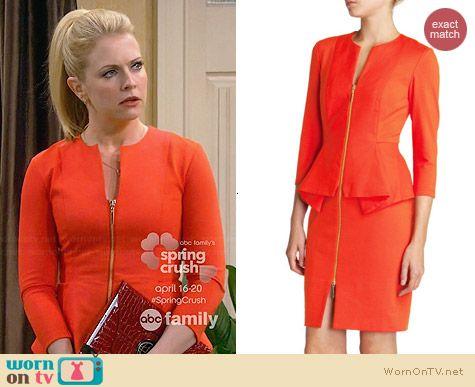 Melissa's orange zip-front peplum dress on Melissa and Joey. Outfit Details: http://wornontv.net/30805/ #MelissaandJoey