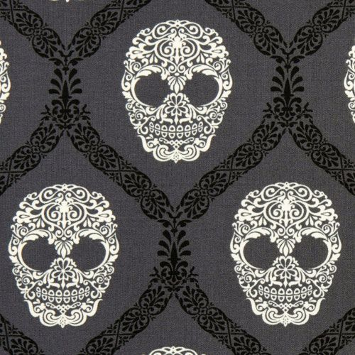 Gray Michael Miller fabric skulls Skull Damask (I have it in black, ivory, and brown. I like this better!)
