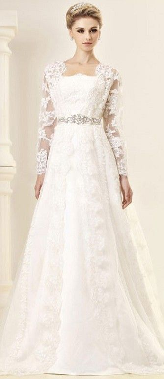 Wedding Dress white lace with long sleeves and beaded belt