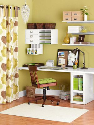 This is what I want for my SuperMom hub (aka home office in the kitchen). Shelves on the wall, stuff out of the way so little hands can't disorganize my organized mess.