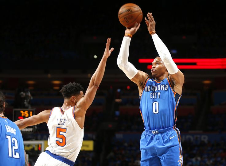 Oklahoma City's Russell Westbrook (0) shoots over New York's Courtney Lee (5) during an NBA basketball game between the Oklahoma City Thunder and the New York Knicks at Chesapeake Energy Arena in Oklahoma City, Thursday, Oct. 19, 2017. Photo by Bryan Terry, The Oklahoman
