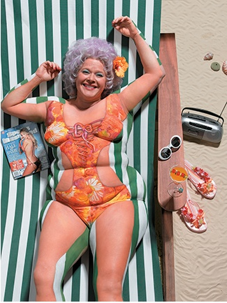 Joanne Gair body painting - so clever.  I almost missed that she is painted to blend into the lounger