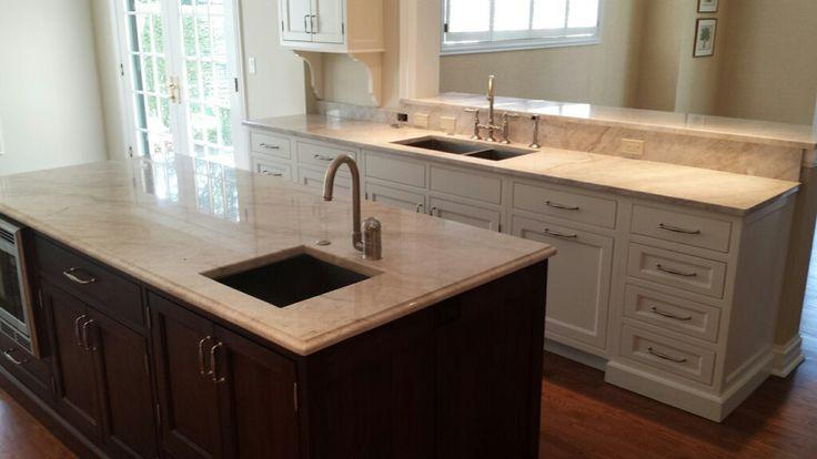 white pearl quartzite kitchen island countertops. natural stone