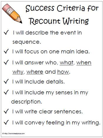 ReCount Success Criteria Worksheets