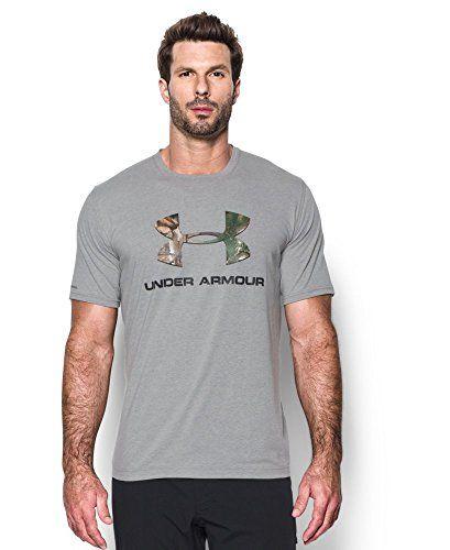 Under Armour Men's Camo Fill Logo T-Shirt True Gray Heather/Black X-Large