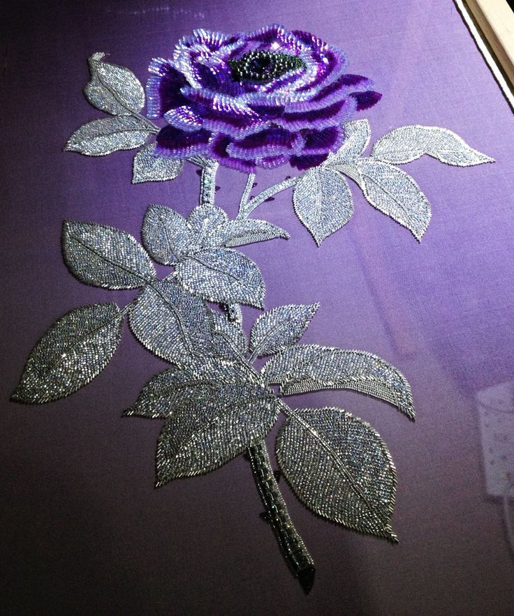 Purple rose and silver leaves all embroidered with beads