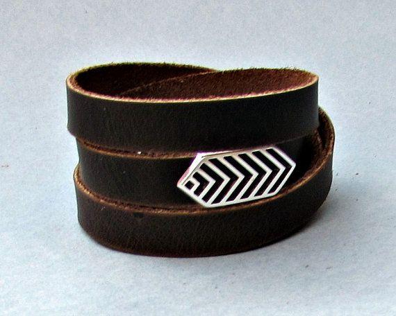 Arrowhead Men's Leather Wrap Bracelet Cuff Geometric by GUSFREE