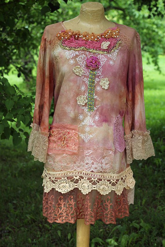 Oriental taste tunic,  - -bohemian romantic, altered couture, embroidered and beaded details, vintage textiles