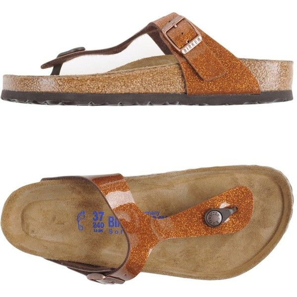 Birkenstock Thong Sandal ($90) ❤ liked on Polyvore featuring shoes, sandals, brown, thong sandals, toe post sandals, round toe flat shoes, birkenstock and glitter flat sandals