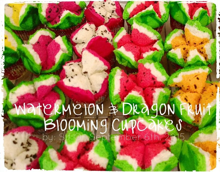 Watermelon Blooming Steamed Cupcakes . Ingredients: ●1 whole egg +1 egg yolk ●100 gr caster sugar  ~ Dry Ingredients, Combine & Mix: ●90 gr low protein flour ●60 gr corn starch ●1/4 sdt double acting baking powder ~  Wet Ingredient: ●100 ml mineral water