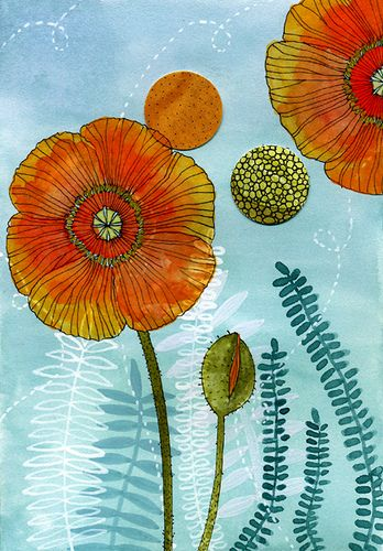 Poppies~watercolor, ink & collage on paper