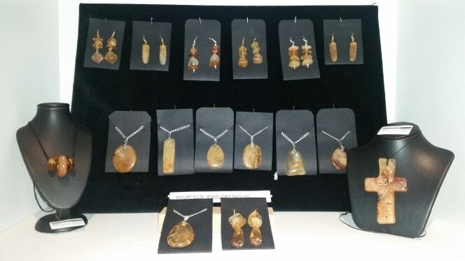 Ancient swamp kauri gum pendants and earings by Sharon Hale