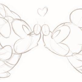 Disney kaart – minnie-en-mickey-mouse-geven-een-ku…