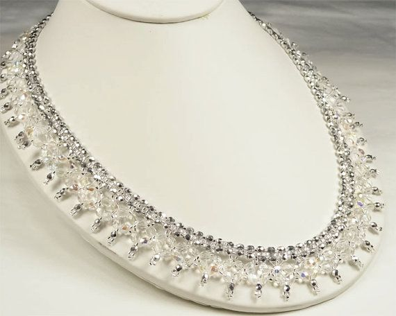 BRAND NEW! Luxurious Crystal & Metallic Silver Beaded Picot Statement Bridal Necklace by PixieDustFineries on Etsy