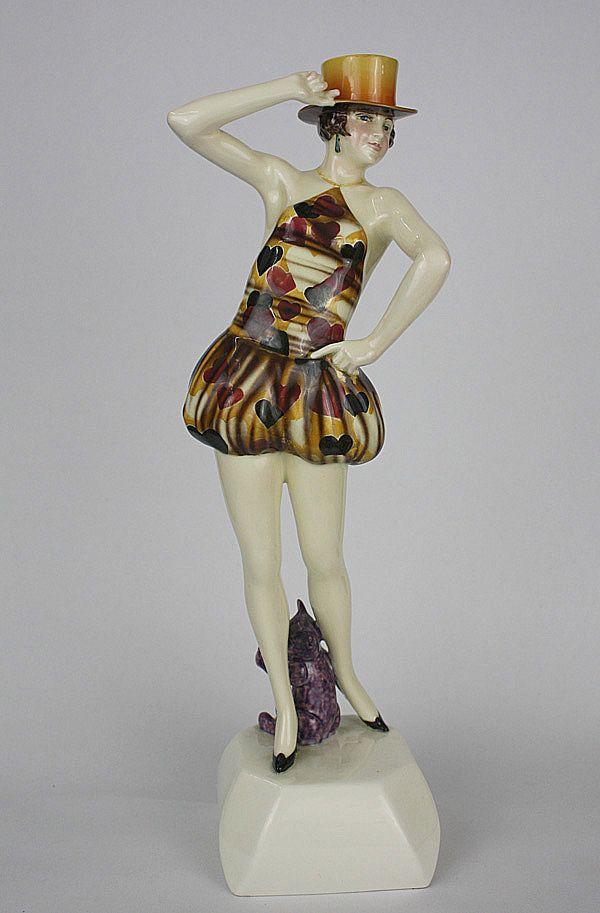 """An Art Deco figurine by Stefan Dakon for Goldscheider,  Vienna Austria c1927/28 - """"Zylinger"""" (Top Hat)"""