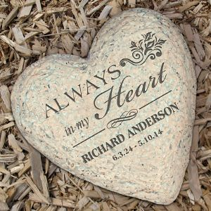 $10.98 Engraved Memorial Heart Garden Stone
