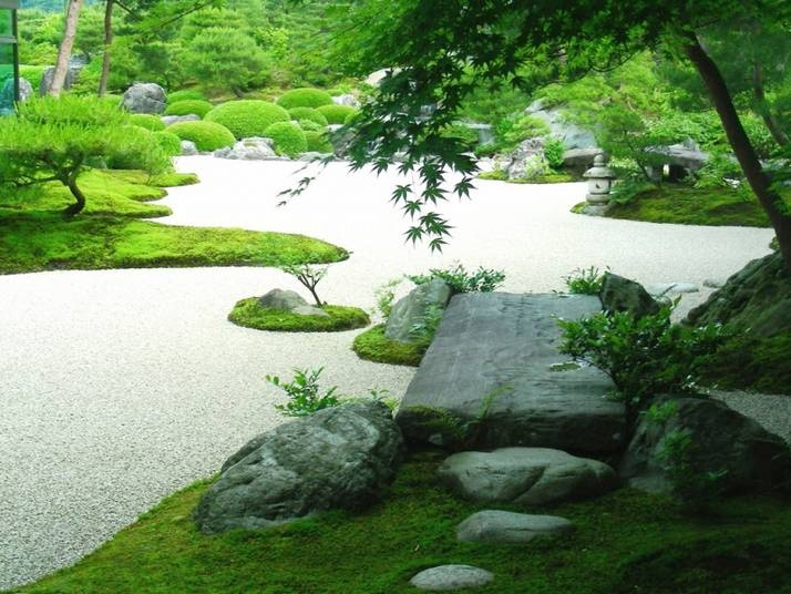 Japanese garden path with conifers landscaping for Japanese garden path