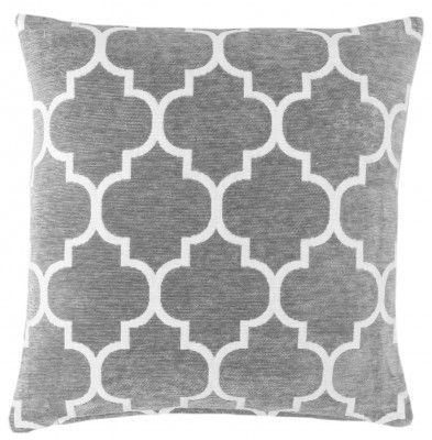 Grey & White 17″ Luxury Chenille Moroccan Design Geometric Cushion Cover  |  Red Rainbow Cushions