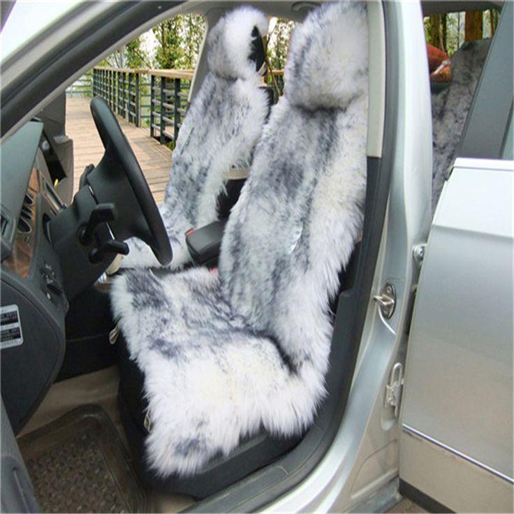 Gratis Verzending Deluxe Winter Pluche Australische Schapenvacht Auto Bekleding voor Een Voorstoel Bont Auto Kussen Universele Auto Cape