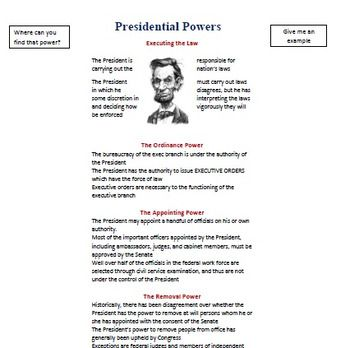 This simple presidential power is a visual that describes the presidential powers and asks students to locate where this power is given and to give an example of the power in action.