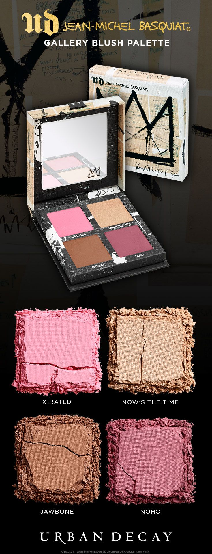 Gallery Blush Palette is a four-pan face palette that holds two shades of blush, a bronzer and a highlighter based on Basquiat's paintings. These versatile shades work on any skin tone, and our long-lasting Afterglow formula delivers 8 hours of wear.