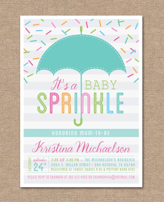 PRINTABLE BABY SHOWER Invitation - Baby Sprinkle - Umbrella
