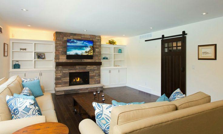 Modern TV Room Reno, Stone Fireplace Place, Gas Fire Insert,  Barn Foor, Dark Hardwood, Recessed Lighting, Shelving Insert