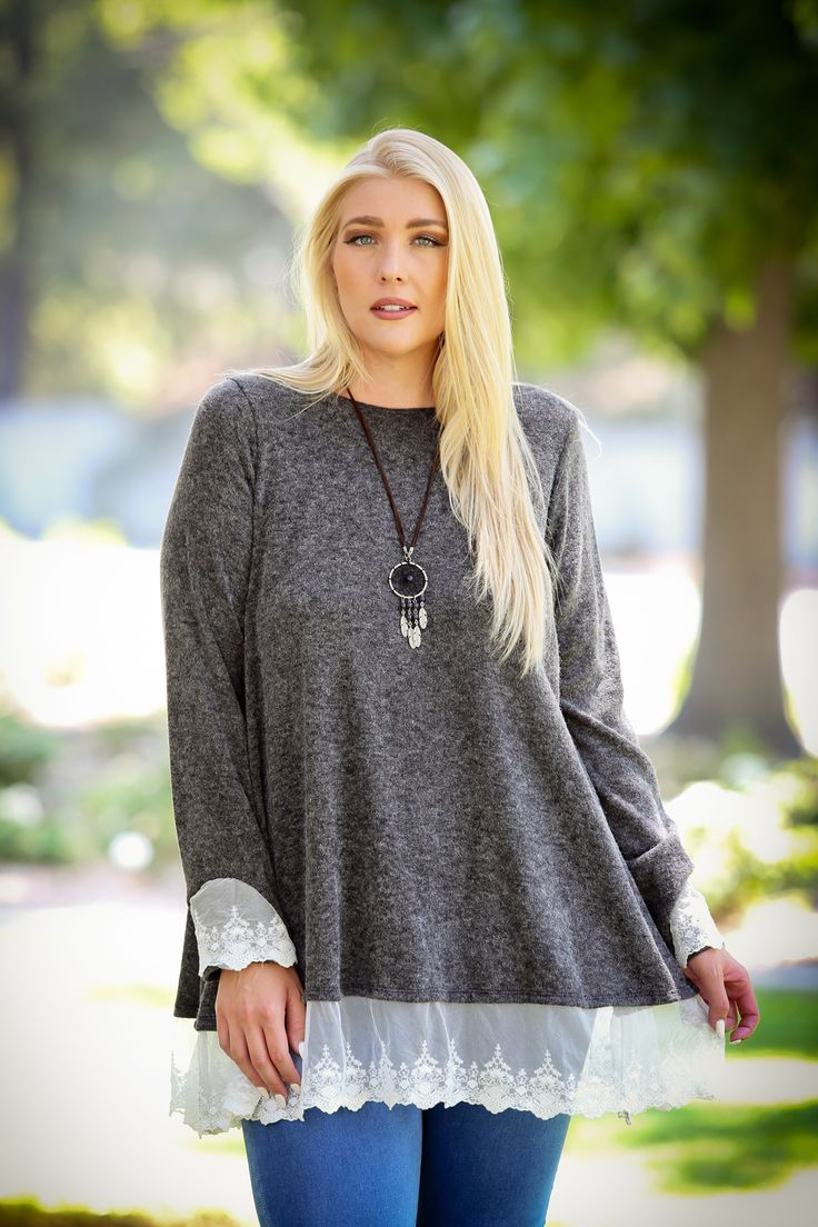 $13.99 Hem Solid Plus Size Lace Casual Dressy Tops Lace Bottom Plus Size///Lace layered hems on sleeves and bottom is a breathtaking feature of this tunic top. This over-sized tunic top matches well with legging or your favorite pants. #Solid #Plus Size #Casual #Dressy #Tops #Lace #Bottom #Hem #Women #Extra #Large #Tops