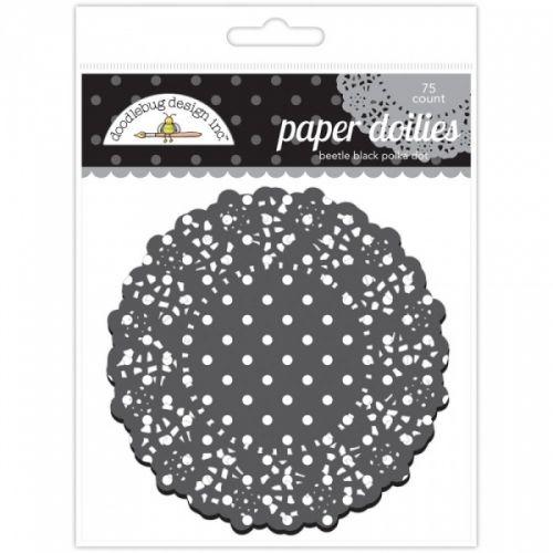 DOODLEBUG+-+PAPER+DOILIES+DD4474+-+BEETLE+BLACK+POLKA+DOT Pakke+med+nydelige+POLKA+DOTKAKESERVIETTER+eller+PAPIR+ROSETTER+fra+DOODLEBUG.Inneholder+75+stk+og+kommer+i+ulike+farger.  DOODLEBUG-Paper+Doilies+Round+POLKA+DOTPerfect+for+all+your+paper+crafting+needs!+This+package+contains+75+of+4-1/2+inch+doilies.Comes+in+a+variety+of+colors.