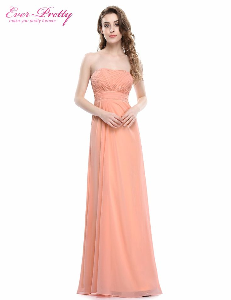 Strapless Peach Pink  Evening Dresses for Wedding Party Ever Pretty HE08840 Strapless Ruched Bust Blue Red Chiffon Long 2017