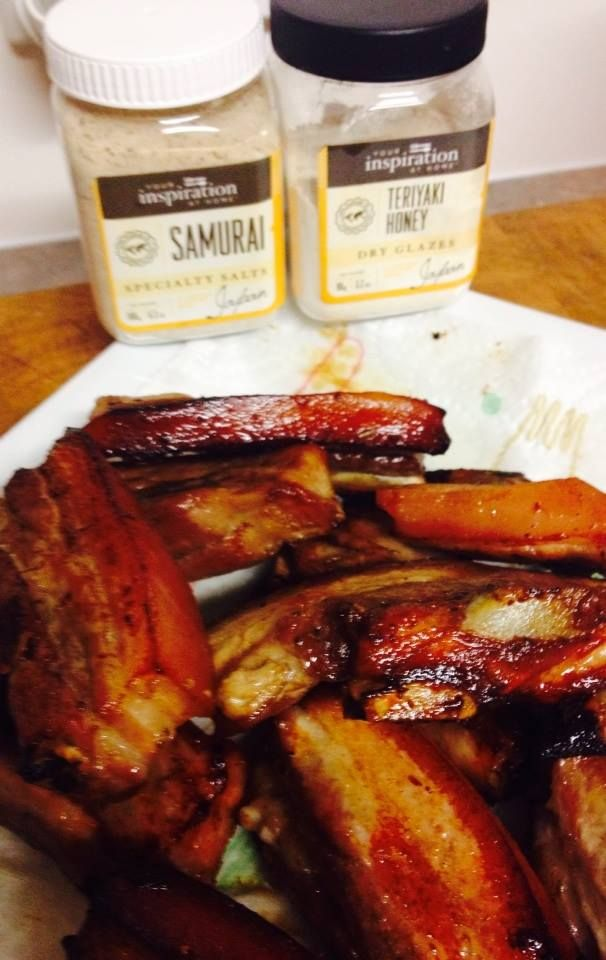 YIAH Teriyaki Honey Dry glaze pork spare ribs with a little sprinkle of YIAH Samurai Sea salt dust