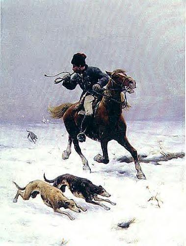 """Zygmunt Ajdukiewicz """"Polowanie z chartami"""", 1886, olej na tekturze, 20 x 15 cm, własność prywatna"""