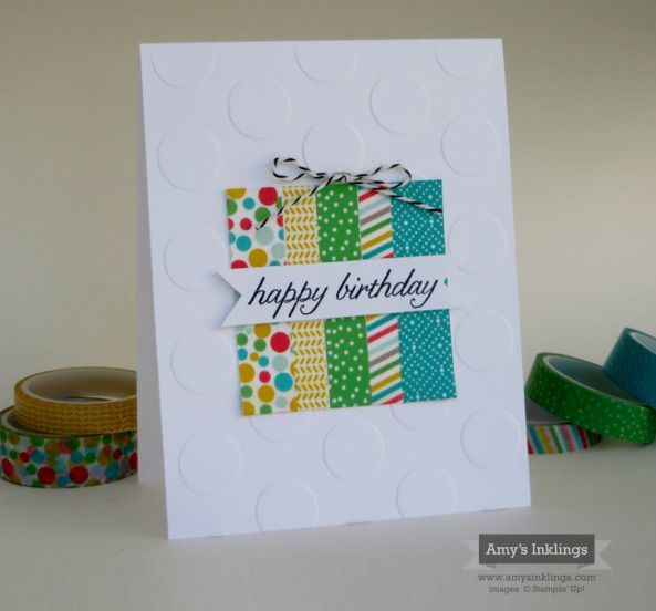 "hand crafted birthday card ... clean and simple ... big dots embossing folder background ... square ""present"" of washi tape strips ... sentiment on a banner ... Stampin' Up!"