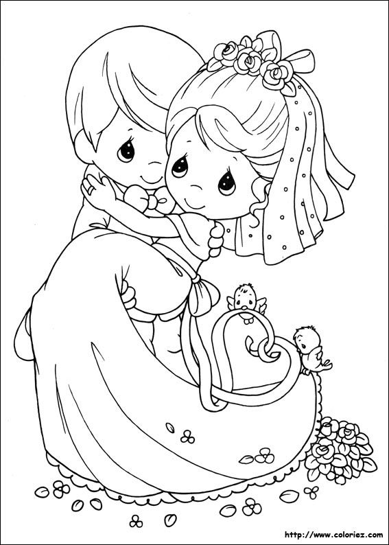 precious moments wedding coloring page