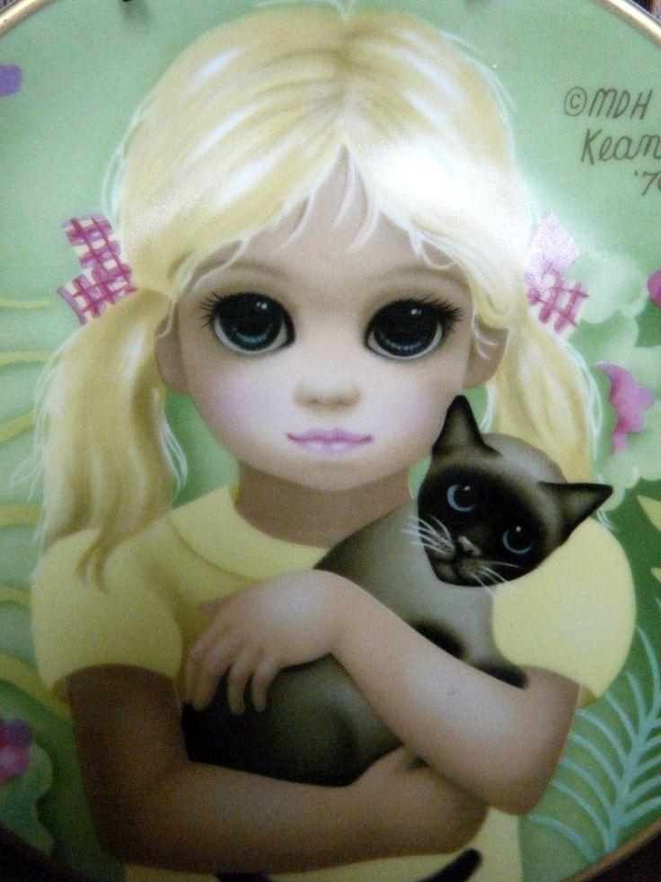 Keane Big Eyes Paintings 1961 | BIG EYES 1970s Margaret KEANE Plate My Kitty by Vintageworks