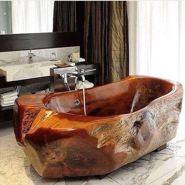 Роскошная эко ванная из цельного куска дерева🌰Тактильные ощущения от принятия ванны в такой ванне незабываемые🛀👌Признайтесь хотели бы в такой искупаться?)