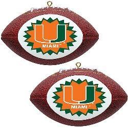 Topperscot Miami FL Hurricanes Two Mini Replica Football Ornaments